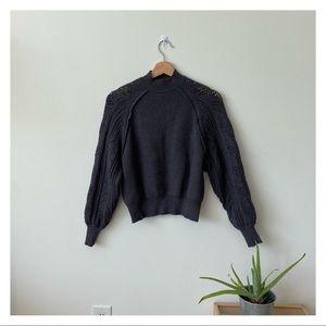 Zara pointelle sleeve sweater charcoal grey
